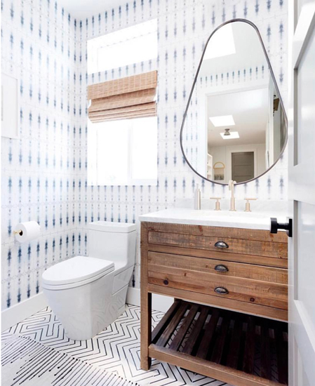 How To Create A Greyscale Bathroom: WALLPAPER INSTALL